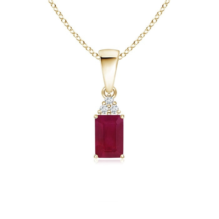 Angara Prong Set Emerald Cut Ruby Pendant with Diamond - Red/White - Thumbnail 0