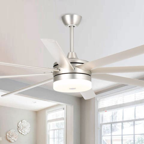 Larger 70-in LED Brushed Nickel 8 Blades Ceiling Fan with Remote