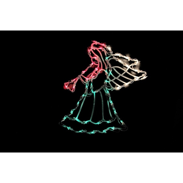 """18"""" Lighted Red, White and Green Angel Christmas Window Silhouette Decoration"""