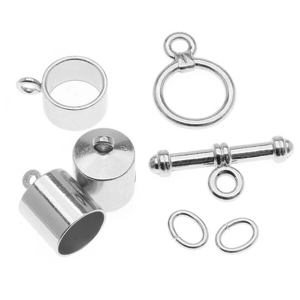 BeadSmith Silver Plated Barrel Findings Kit For Kumihimo Braids - Fits 8mm Cord