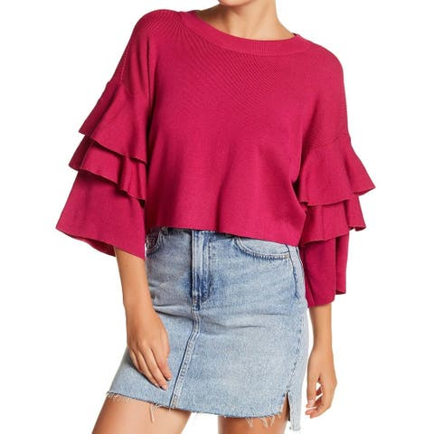Elodie Womens Small Tiered Bell-Sleeve Cropped Sweater