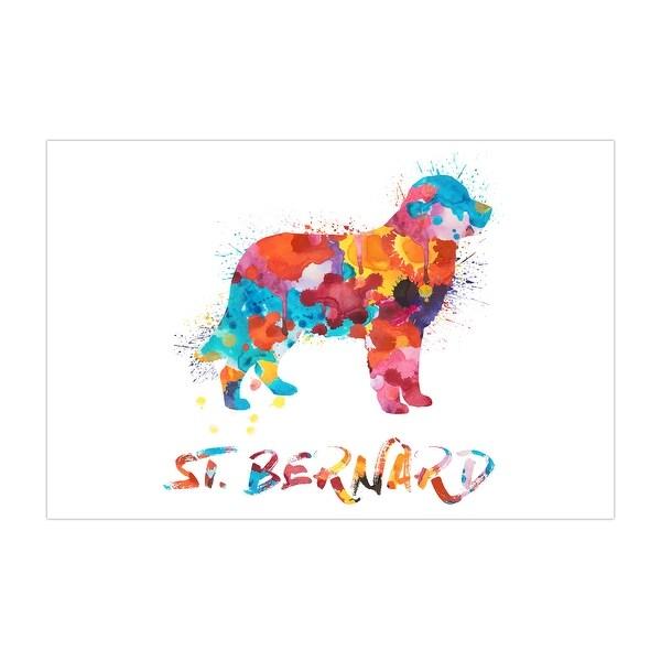 St. Bernard Dog and Cat Watercolor Splatter Art Matte Poster 36x24