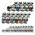 "Surgical Steel Barbell with Press Fit Gem Set Ball (Sold Individually) - 16 GA 1/4"" Long (4mm Balls) - Thumbnail 0"