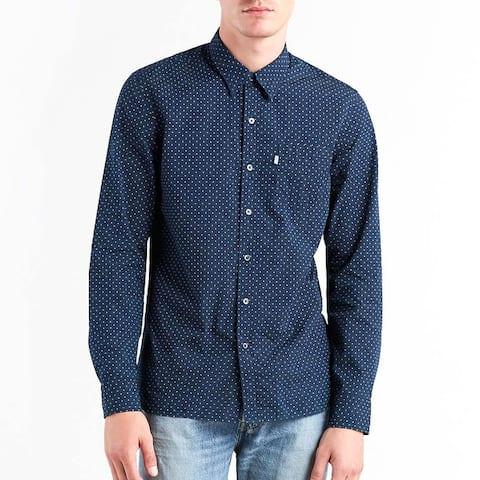Levis Mens Sunset Pocket Long Sleeve Shirt Lightweight Cotton Polka Dot 65824