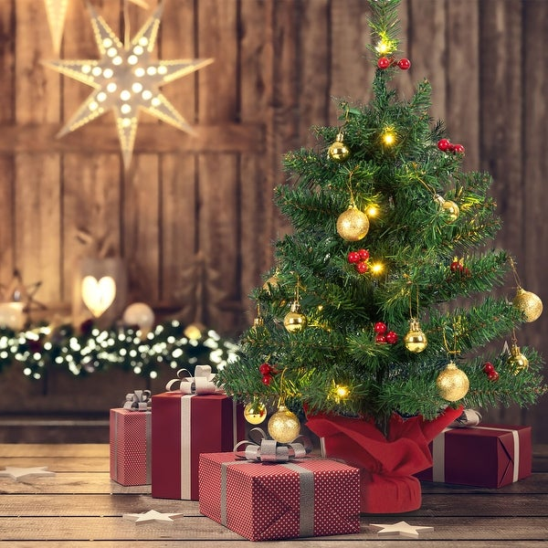 Small Battery Operated Christmas Tree: Shop Gymax 24'' Pre-Lit PVC Christmas Tree Battery