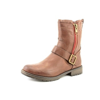 Madden Girl Brawl Women Round Toe Leather Brown Ankle Boot