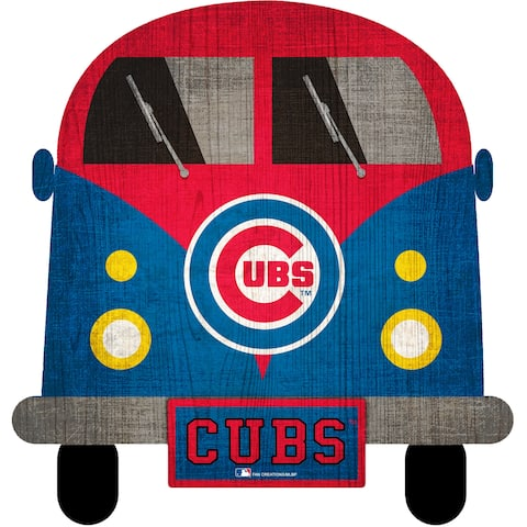 """Chicago Cubs Team Bus 12"""" Wooden Sign - Multi"""