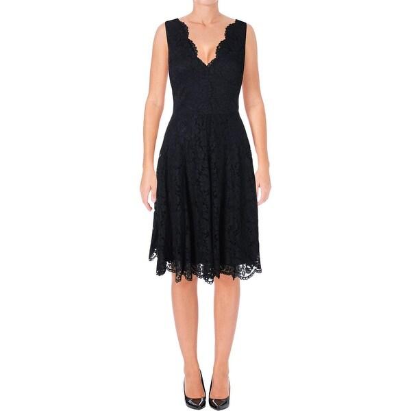 Vera Womens Party Dress Lace V Neck 12