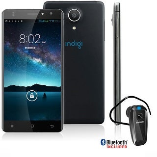 "Indigi Unlocked 5"" 4G 2Sim Android 6.0 SmartPhone AT&T Straight Talk + Bluetooth bundle - Black"