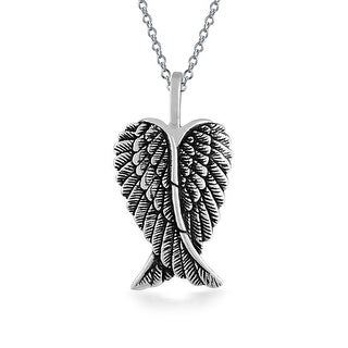 "925 Sterling Silver Guardian Angel Wings Heart Locket 18/"" Chain."