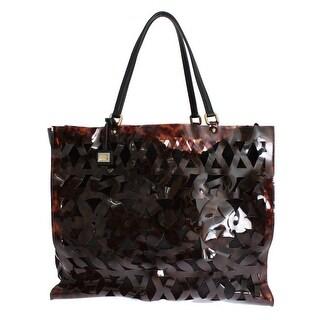 Dolce & Gabbana Brown Plastic Brocade ESCAPE Shopping Bag