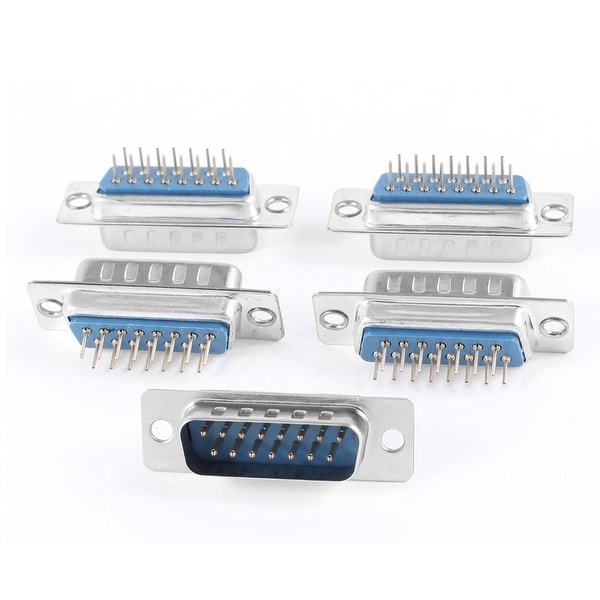 Unique Bargains DB-15 Double Row 180 Degree Mounting Hole D-Sub PCB Connector Male Plug 5 Pcs