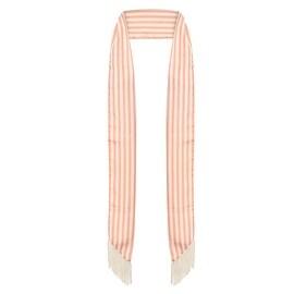 Ladies Pink Striped Skinny Scarf with Fringe