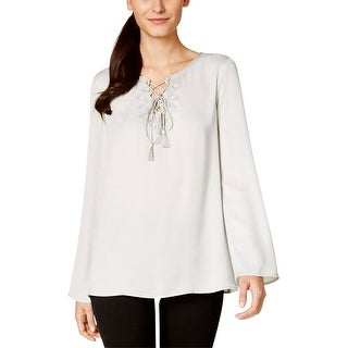 Studio M Womens Josette Peasant Top Satin Lace Up