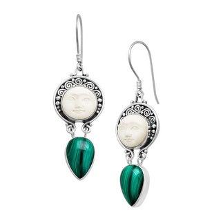 Sajen Natural Malachite Goddess Face Drop Earrings in Sterling Silver - Blue