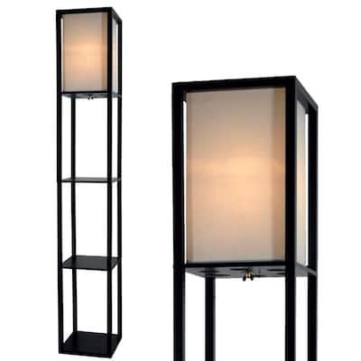 "Light Accents Black Wood 3-shelf Floor Lamp With Beige Linen Shade - 70"""