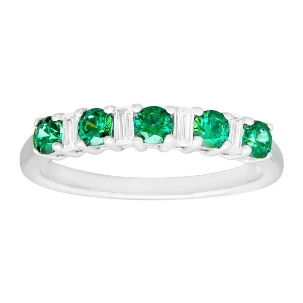 Band Ring with White & Green Swarovski elements Zirconia in Sterling Silver