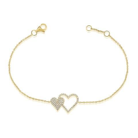 Joelle Diamond Heart Bracelet for her 14k Gold 1/5 ct. TDW Women's Bracelet