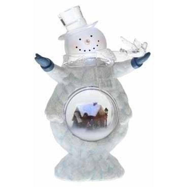 Pre-Lit Cheerful Glitter Snowman with Bird Christmas Dome Figure - CLEAR