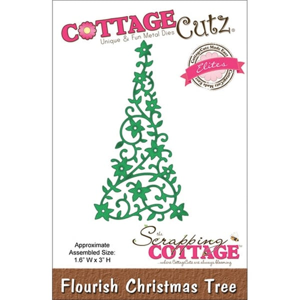 "CottageCutz Elites Die -Flourish Christmas Tree 1.6""X3"""