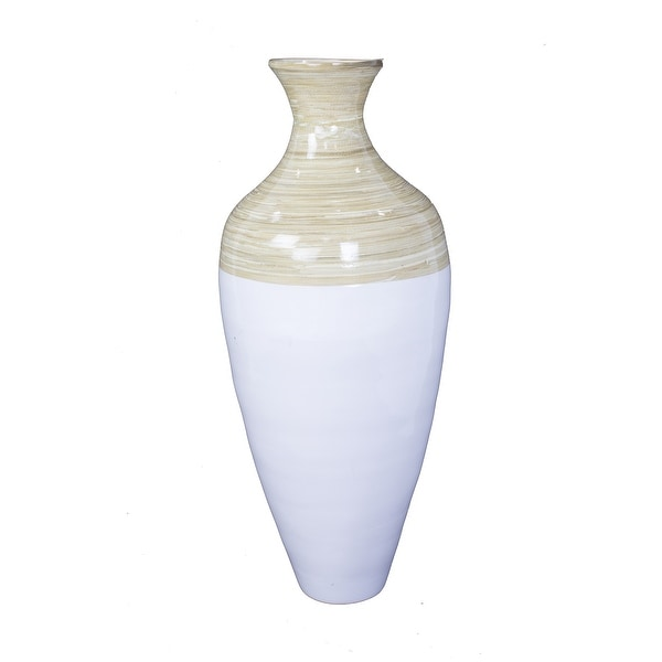 """27.5"""" Gold, Copper, and Brown Spun Bamboo Floor Vase"""