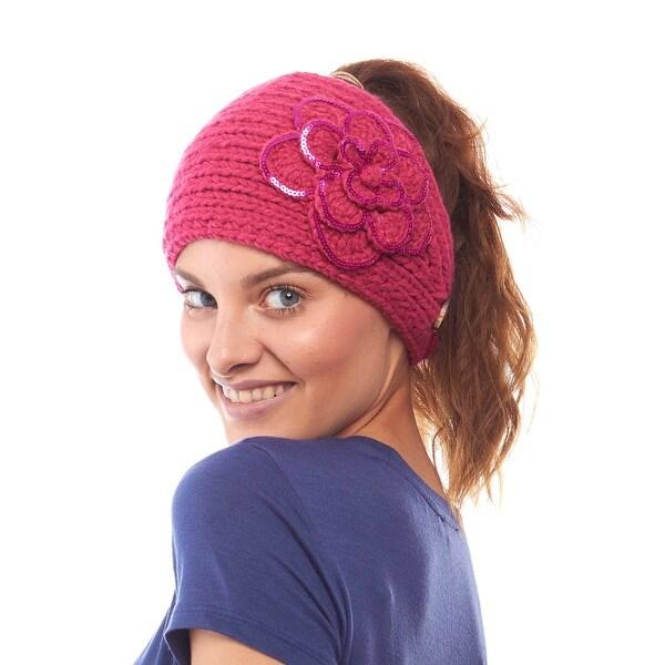 Arctic Amaryllis Knit Winter Headband with Sequin Flower