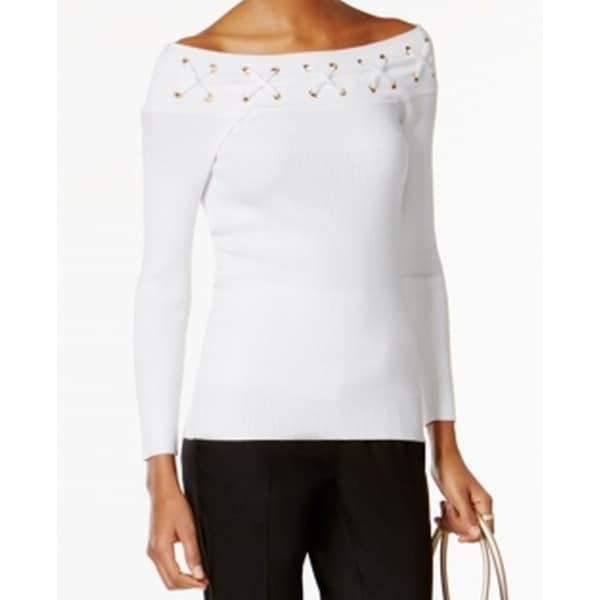 e3a8691775 ... Women s Sweaters     Long Sleeve Sweaters. Michael Kors NEW White  Women  x27 s Size Large L Lace-Up Boat
