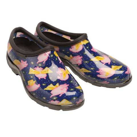 Sloggers Women's Waterproof Rain and Gardening Shoes -Pigs Fly or Cowbella Print