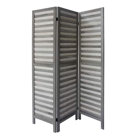 3 Panel Foldable Wooden Divider Privacy Screen with Shutter Design and Metal Hinges, Light Gray