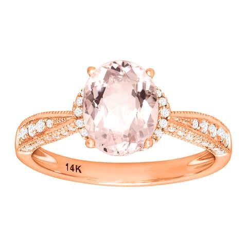 1 3/4 ct Natural Morganite & 1/4 ct Diamond Ring 14K Rose Gold - Pink