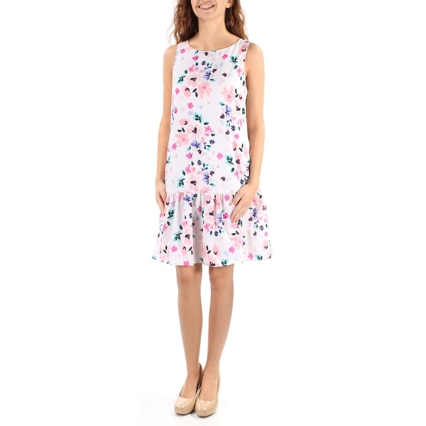 CECE Womens White Floral Sleeveless Jewel Neck Above The Knee Dress Size: 2