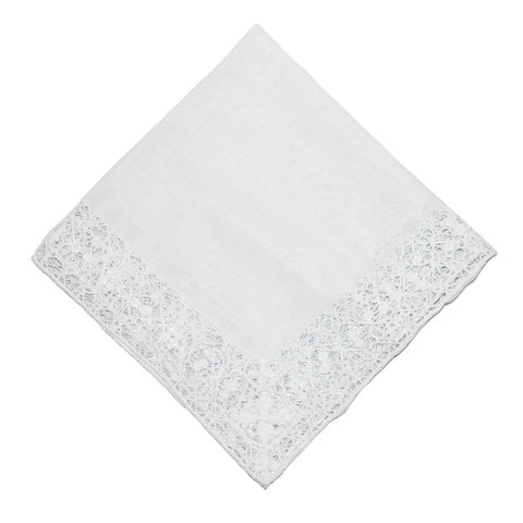 CTM® Women's Cotton Bridal Hand Crocheted Venice Lace Handkerchief - One size