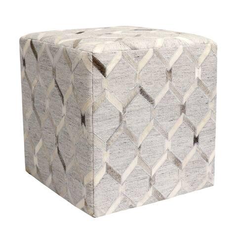 "Noori Home Beverly Geometric Hide Pouf, Ivory (18""x18""x18"")"
