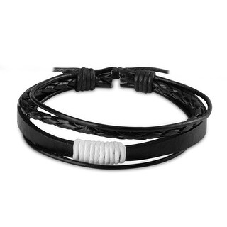 Zodaca Unisex White/ Black Fashion Handmade Multi-strip Leather Braided Bracelets