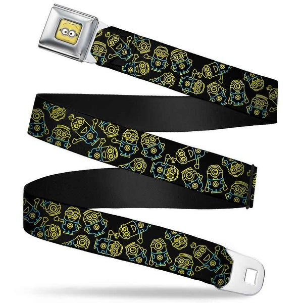 Minion Dave Face Close Up Full Color Electric Minions Scattered Black Seatbelt Belt