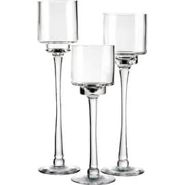 "CYS® Candle Holder Set of 3. Glass Pedestal Candle Holders in 3 Different Heights (H-12"", 14"", 16"") Open D-4"""