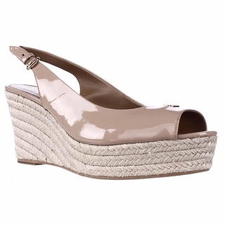 Coach Ferry Peep Toe Slingback Espadrille Wedge Sandals - Shell