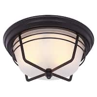 Westinghouse 6230300 Bonneville 2-Light Flush Mount Ceiling Fixture with Frosted Glass Shade - Weathered Bronze
