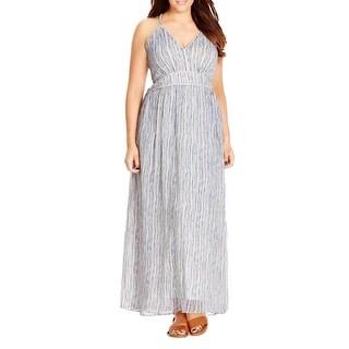 City Chic Womens Plus Maxi Dress Metallic Plait High Waist
