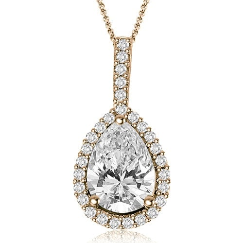 0.90 cttw. 14K Rose Gold Pear And Round Halo Diamond Pendant