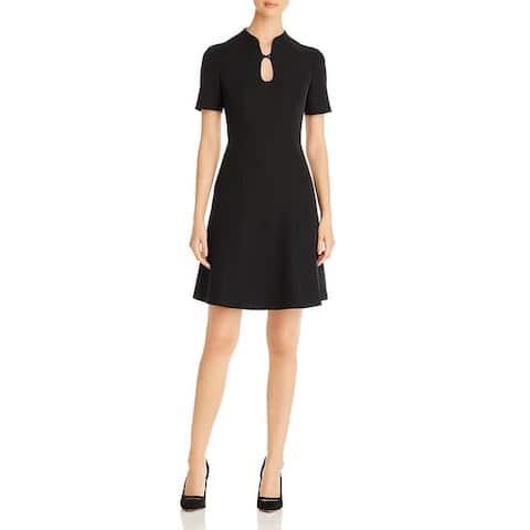 Nic + Zoe Womens Leading Lady Fit & Flare Dress A-Line Key-Hole - Black Onyx
