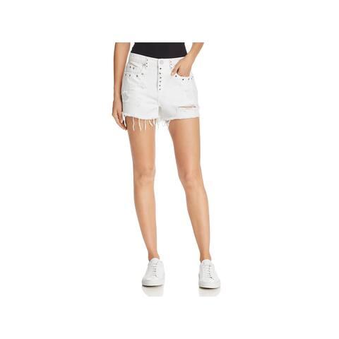 Blank NYC Womens The Barrow High-Waist Shorts Denim Cutoff White 31