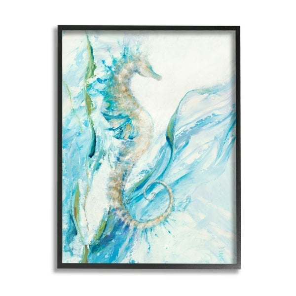 Stupell Industries Nautical Seahorse Blue Fluid Ocean Water Framed Wall Art. Opens flyout.