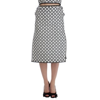 MARTINA SPETLOVA MARTINA SPETLOVA Black White Nappa Leather A-Line Skirt - it42-m