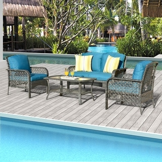 Link to Ketchikan 4-piece Patio Conversation set with by Havenside Home Similar Items in Outdoor Sofas, Chairs & Sectionals