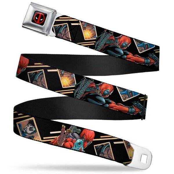 Marvel Universe Deadpool Logo Full Color Black Red White Deadpool Shooting Seatbelt Belt