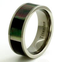 Titanium Lustrous Abalone Shell Inlay Ring