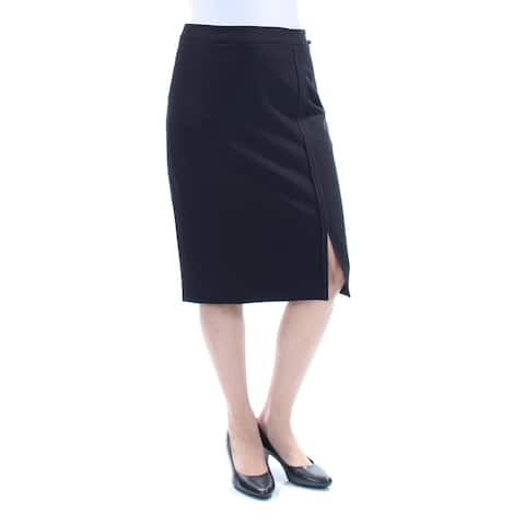 TOMMY HILFIGER Womens Black Slitted Knee Length Pencil Wear To Work Skirt Size: 0