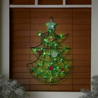 "19"" Lighted Christmas Tree with Silver Tinsel Star Window or Wall Silhouette Decoration - green"