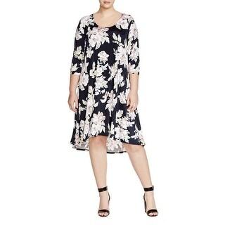 Karen Kane Womens Aquarius Casual Dress Floral Print 3/4 Sleeves